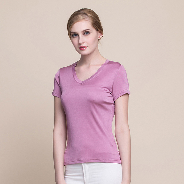 Summer Women 100% Real Silk T-shirt Casual Knitted Short Sleeve Shirts Comfortable Breathable Loose V-neck T-shirts 1008