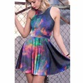 NEW Arrial 1247 Sexy Girl Women Summer Colorful Galaxy Rainbow nebula Star 3D Prints Reversible Sleeveless Skater Pleated Dress