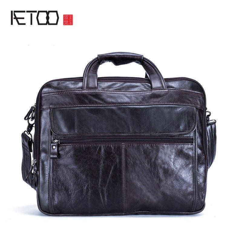 AETOO New leather men bag casual business briefcase handbag shoulder Messenger bag aetoo men s portable briefcase leather casual business men bag korean version of shoulder messenger bag