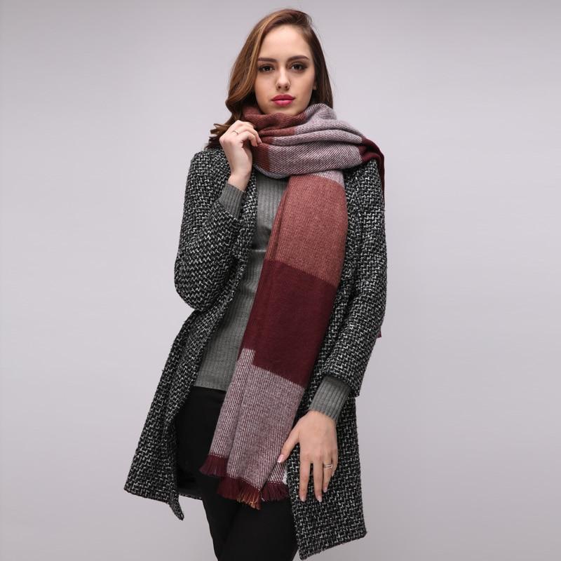 VEROVIVA Tassel knitting warm women scarf Fashion winter thick big scarf women Soft colored knitted long scarf Pashmina