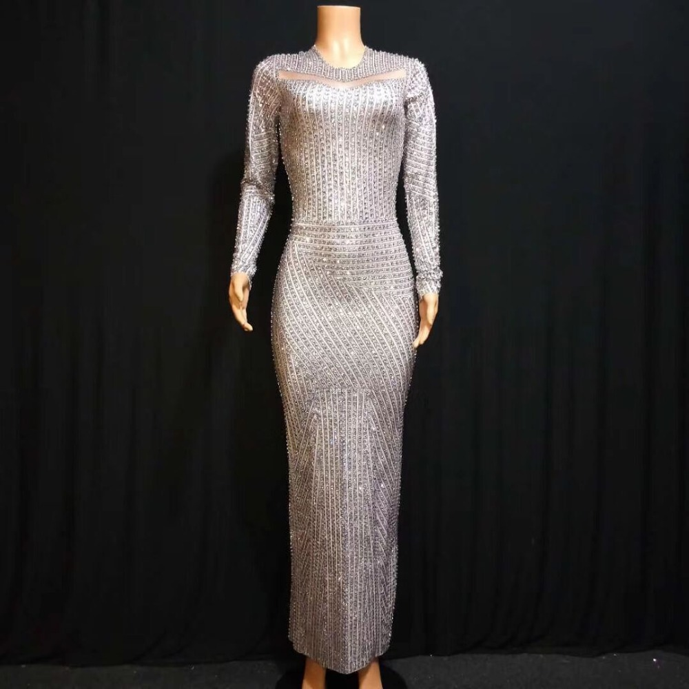 TOP QUALITY Silver Color Diamond Hand make Long Sleeve Sexy Bodycon Long Dress Glitter Celebrity Red Carpet Dress