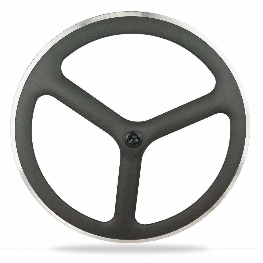 3 K mat carbone vélo de route roues T700 3-branches carbone roues avec freins en aluminium surface carbone piste pneu vélo roues