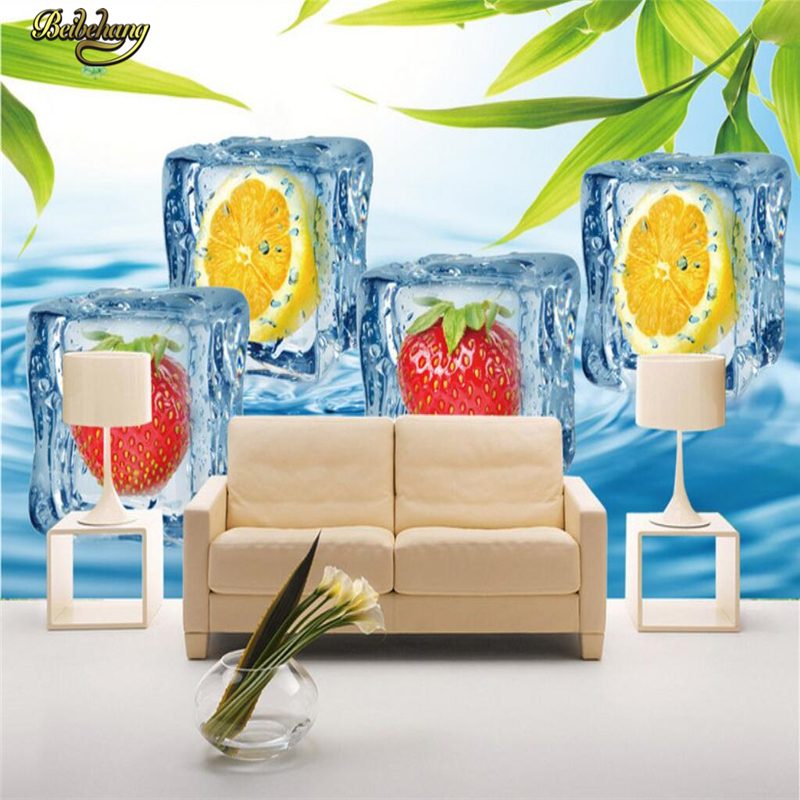beibehang Custom Photo Wallpaper Mural Wall Stick Fruit Ice Cream Cool Summer Background Wall papel de parede