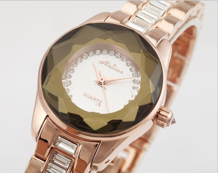 Marca de Moda Simples Melissa Mulher Completa Pulseira Relógio Cristal Luxo Vestido Pulso Quartzo Analógico Relojes Montre Femme Aço