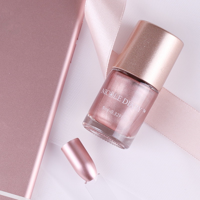 NICOLE DAGBOEK Metallic Nagellak Goud Roségoud Optioneel 9ml Spiegeleffect Glanzende metaalporseleinlak