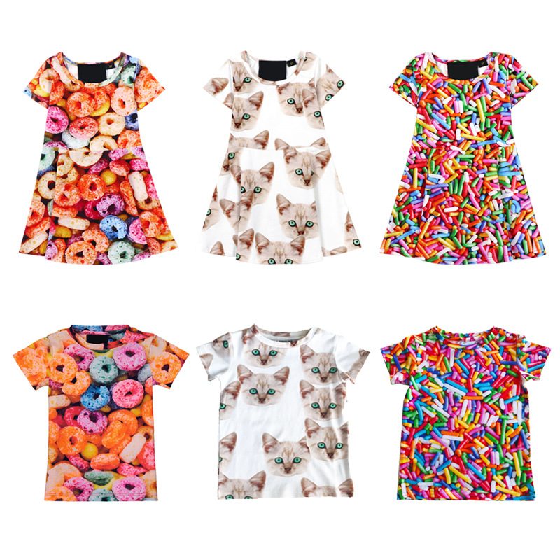 2019 Summer LULU New Demi Donuts Boys and Fries Casual Print Short Sleeve Dress2019 Summer LULU New Demi Donuts Boys and Fries Casual Print Short Sleeve Dress
