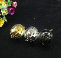 20 sets 16mm Transparant Glas Miniatuur Wens Fles bloem cap Globe Bubble Vial Cabochons Hangers Twee Gaten Orb clear ketting
