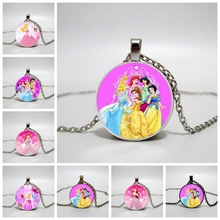 Hot! 2019 New Cinderella Princess Elsa Anna Snow Queen Jewelry Necklace Womens Long Chain Glass Crystal Round Pendant