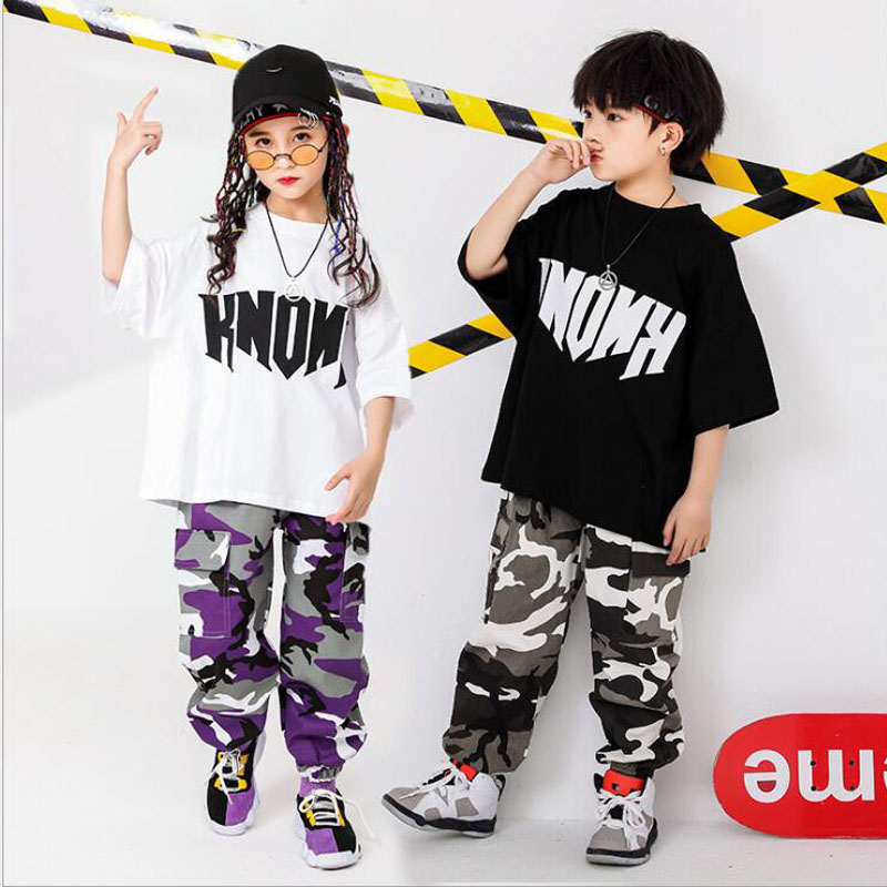Kid Casual T Shirt Top Camouflage Jogger Pants Hip Hop Clothing Outfits For Girls Boys Dance Costume Ballroom Dancing Streetwear