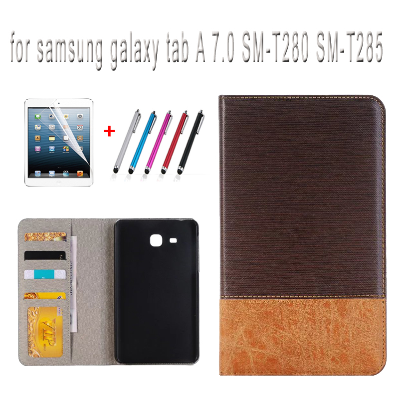цена case for Samsung galaxy tab A 7.0 SM-T280 T285 cover 7 inches SM-T280 SM-T285 tablet case+screen protector+stylus