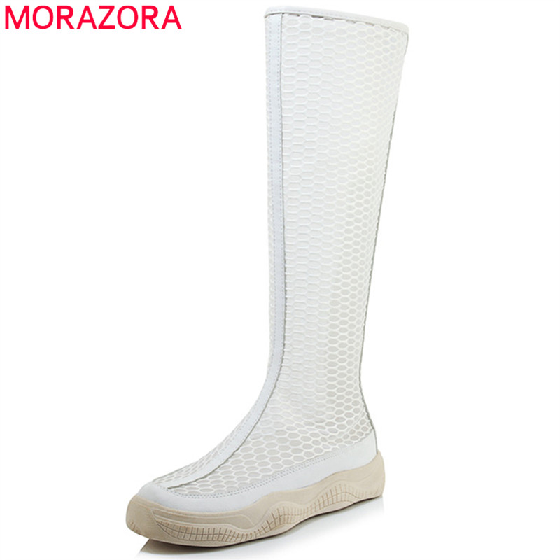 MORAZORA 2019 new arrival knee high boots women pu air mesh summer boots simple zip flat