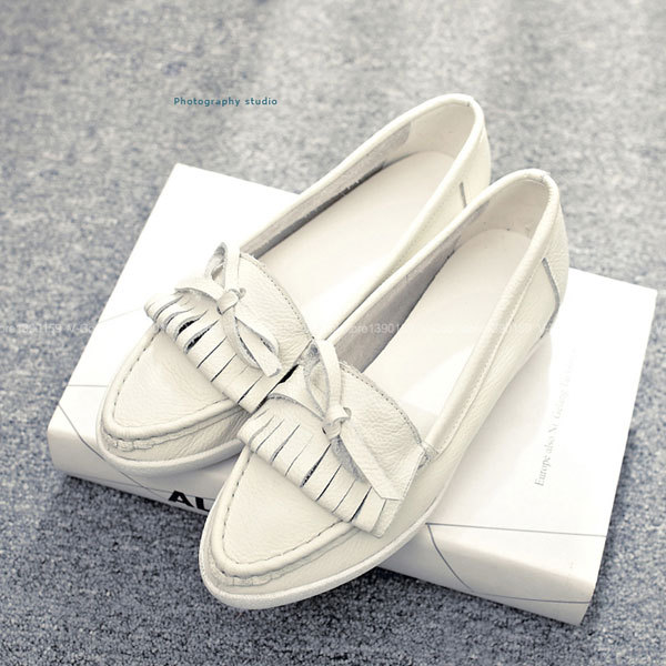 ФОТО Promotion!!! 2017 Hot Sale Fashion Luxury Women Espadrilles Genuine Leather Boat Shoes Soft Loafers Shoes Woman Luxury Designer