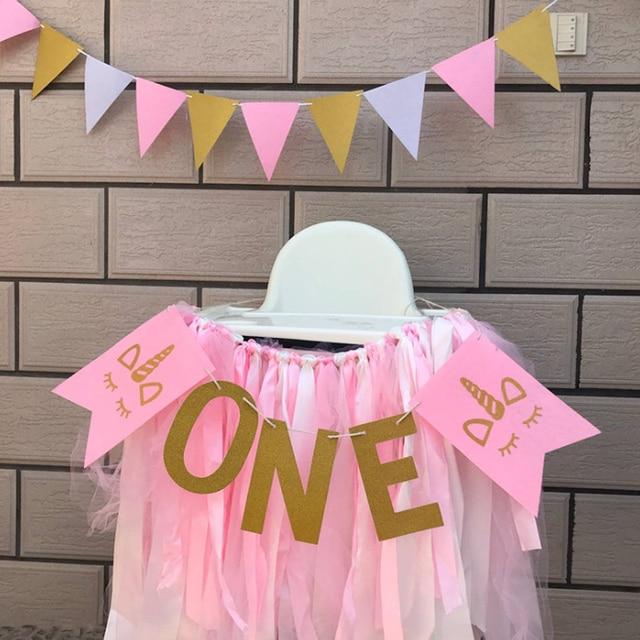 1 Set Creative New Pink Gold Unicorn One Garland Happy Birthday BannerBaby 1st Banner
