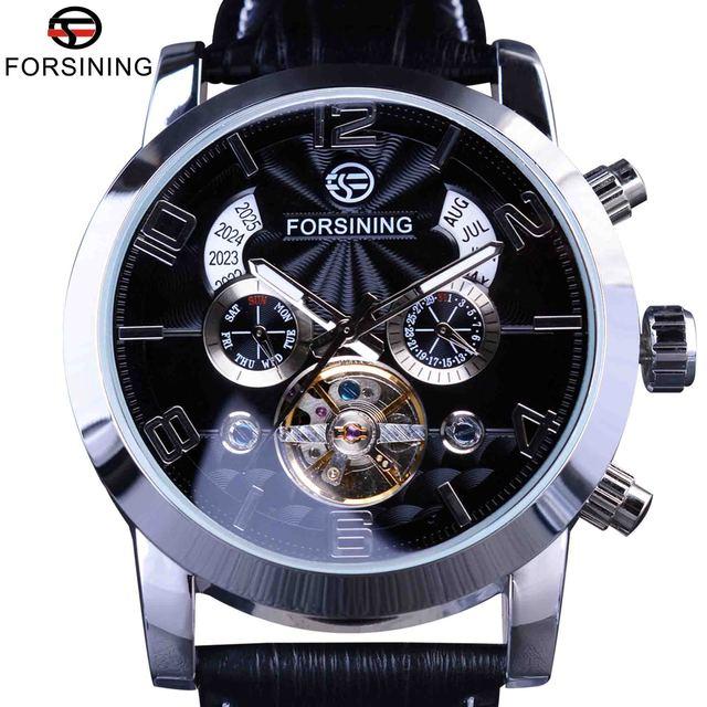 Forsining Tourbillion Mode Wave Dial Ontwerp Multi Functie Display Mannen Automatische Horloge Top Merk Luxe Mechanische Polshorloge