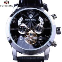 Forsining Tourbillion Fashion Wave Dial Design Multi Function Display Men Automatic Watch Top Brand Luxury Mechanical