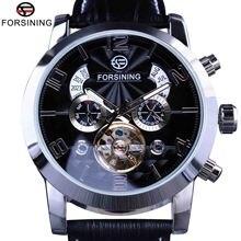Reloj de pulsera mecánico de lujo Forsining Tourbillion de moda con diseño de esfera Multi pantalla de funciones para hombre