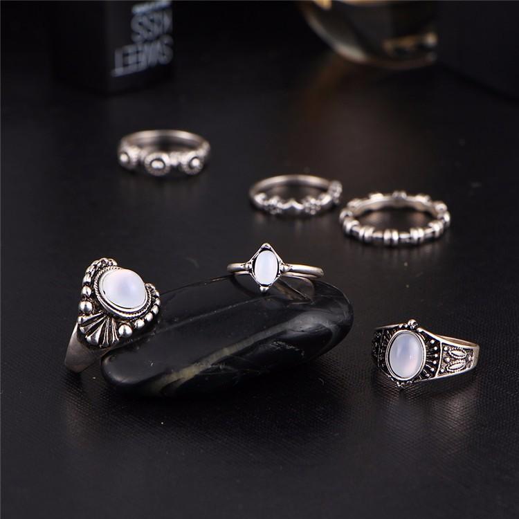 HTB1KVcQOFXXXXXCXVXXq6xXFXXXa 6-Pieces Boho Ethnic Vintage Turquoise/Opal Knuckle Ring Set For Women - 2 Styles