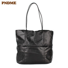 PNDME high quality casual simple soft genuine leather black ladies tote bag large capacity shoulder handbags women shopping