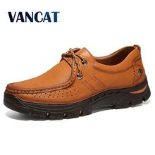 Vancat Genuine Leather Men's Shoes 2018 Autumn Winter Casual Shoes Waterproof Work Shoes Outdoor Rubber Shoes Lace-up Oxfords
