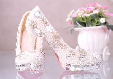 2016 New Luxury Fashion wedding Shoes Rhinestone Crystal platform ultra high heel pumps ladies wedding shoes Bridal  Dress Shoes