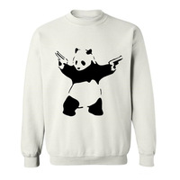 2017 Teenage Youth Funny WWF Panda Play Guns Funny Hoodies Sweatshirts For Men