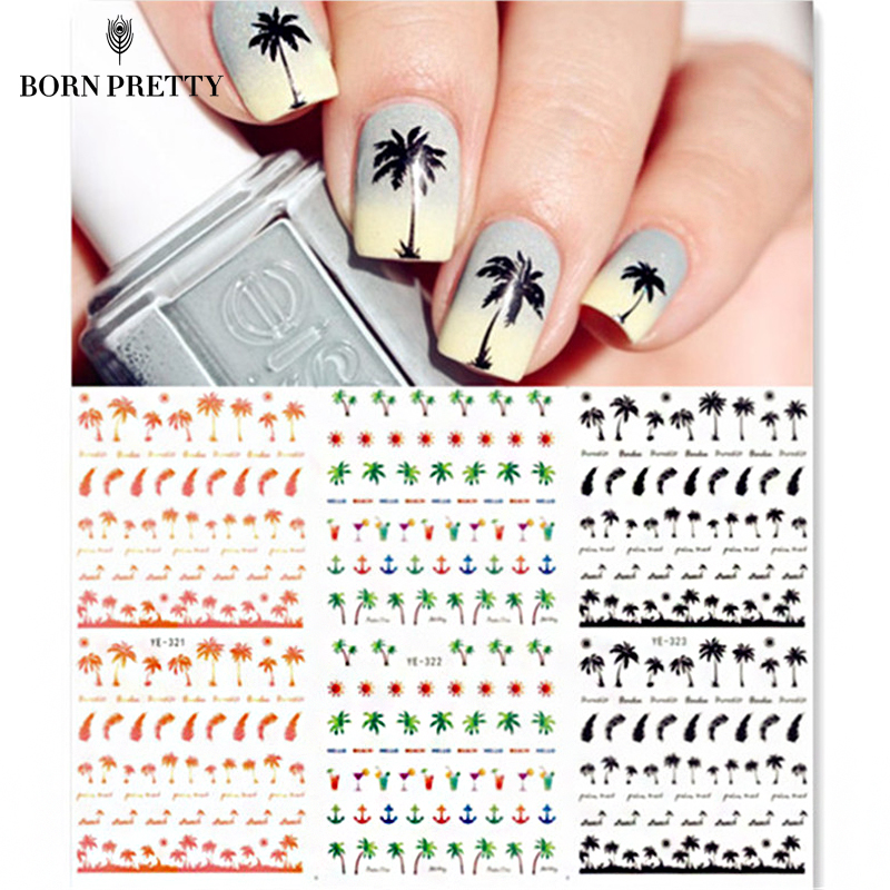 Coconut Trees Nail Water Decals Summer Style Transfer Stickers 1 sheet Anchors Nail Art Stickers #21567 flame trees of thika