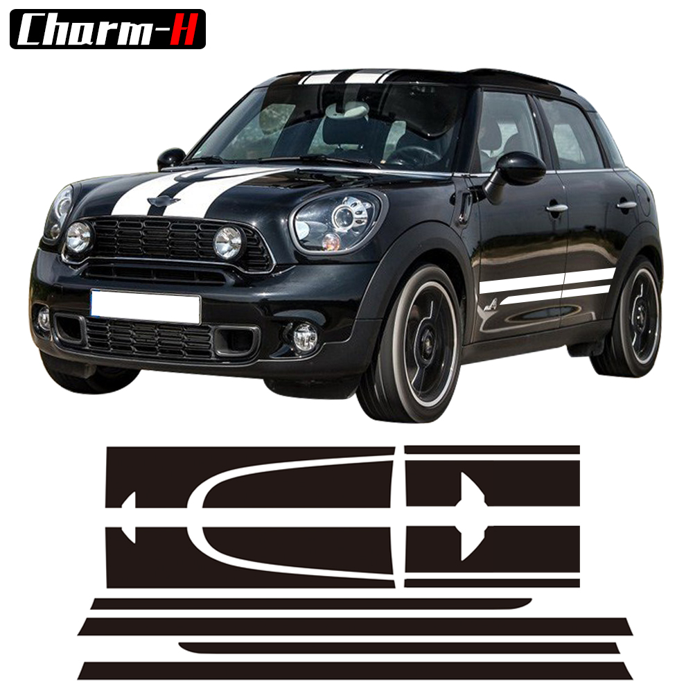 Sticker Kit Stripe Autocollant Pour Mini Countryman Cooper S Racing Capot Côté Capot JCW Autocollants En Vinyle - Blanc / Noir / Rouge / Or à choisir