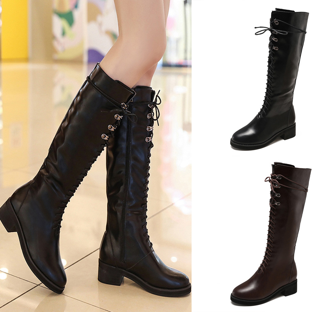 Ladies Womens Retro Style Punk Lace Up Calf Riding Combat Goth Boots Shoes Size