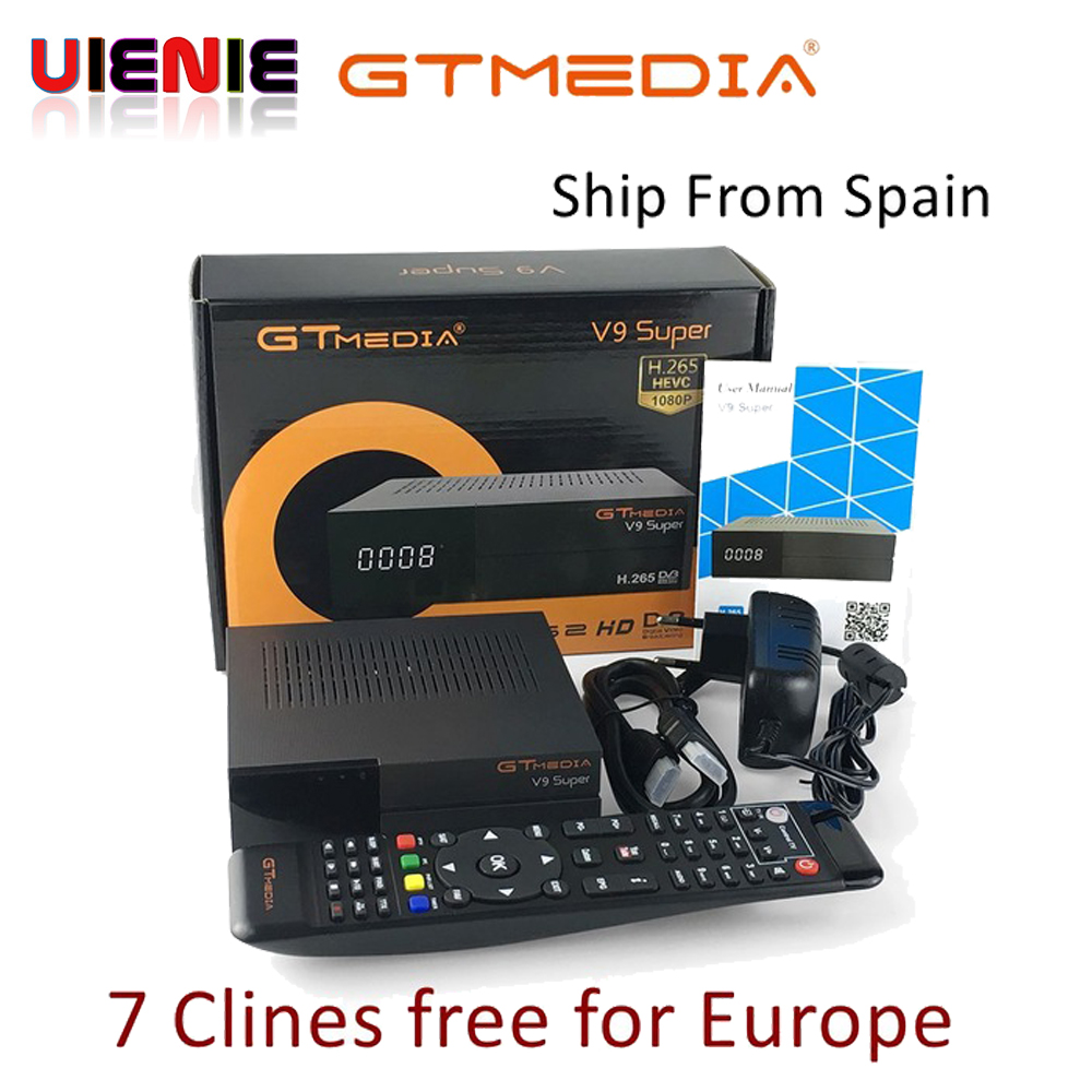 GTMedia V9 Super Satellite Receiver Bult in WiFi with 1 Year Spain Europe Clines Full HD