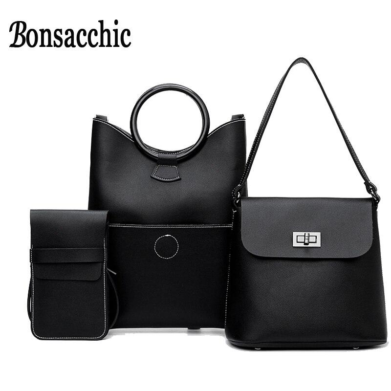 988546e0d3a3 Bonsacchic Black Handbag Women s Bags Set Designer Women Handbags High  Quality Crossbody Bags for Women 2018