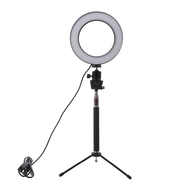 Dimmable LED Studio Camera Ring Light Photo Phone Video Light  Lamp With Tripods Selfie Stick Ring Fill Light For Canon Nikon