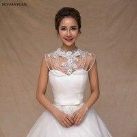 Vintage Pearls Crystal Rhinestone Bling Bling Bridal Wraps White Lace Wedding Shawl Jacket Bolero Wrap Bridal Wedding Wrap