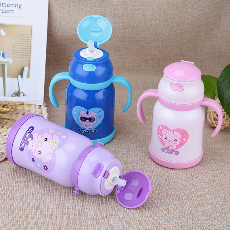 new pig Thermos Cup Kids Thermo Mug soft silicone Straw Insulated 380mlDrink Water Bottl ...