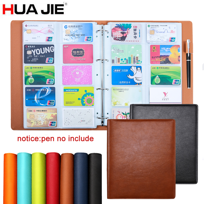 HUA JIE 600 Slots Business Card Stock Spring Binder Rack Book Case Organizer Transparent Insert Leather Office Holders Credit portable 120 cards pvc matte antimagnetic leather business name id credit card holder keeper organizer book
