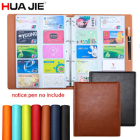 HUA JIE 600 Slots Business Card Stock Spring Binder Rack Book Case Organizer Transparent Insert Leather