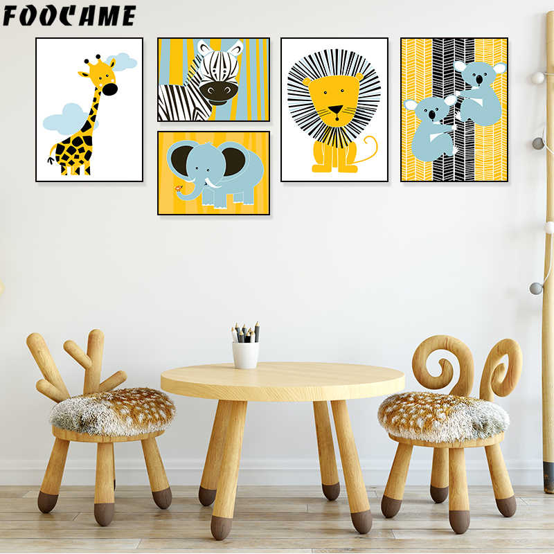 FOOCAME Giraffe Lion Elephant Nordic Animal Poster Wall Art Canvas Painting Print Baby Nursery Decoration Pictures Kids Room