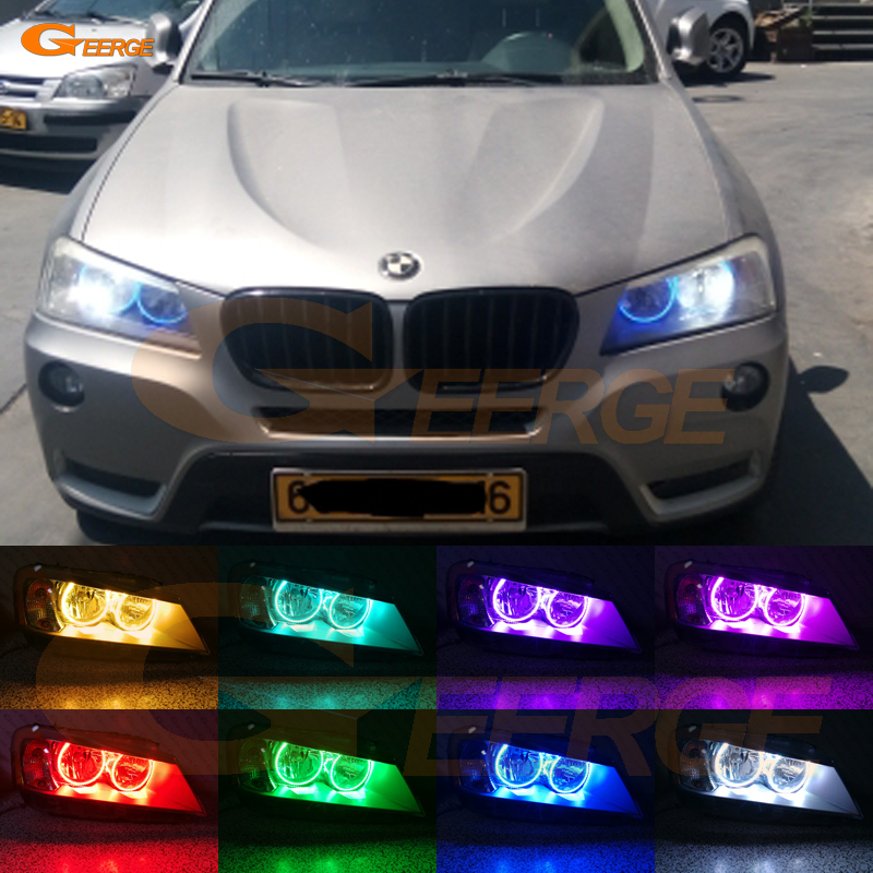 цена на For BMW X3 F25 2010 2011 2012 2013 2014 HALOGEN HEADLIGHT Excellent Multi-Color Ultra bright RGB LED Angel Eyes kit