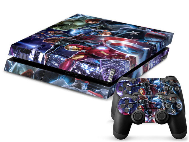 US $9 98  1Set Customs Super Heroes Skin Sticker For Sony Playstation 4 PS4  Console Skins Vinyl Decal Stickers For PS4 Controller Games on