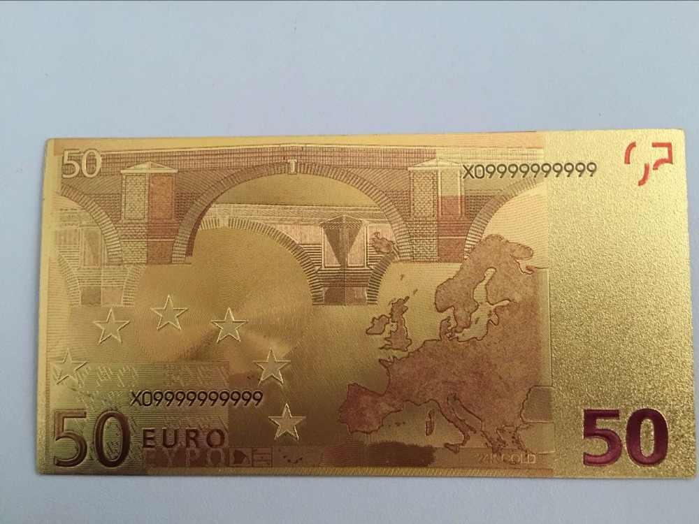 1 pcs Euro 50 24 k Banconote In Oro Foglio di Fatture Dell'unione Europea di Carta di Denaro Falso Collezioni Valuta Vintage Souvenir chirstmas regalo