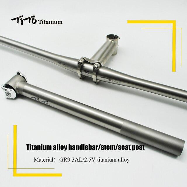 TiTo Leggero titanium mtb/parti titanium della lega della bicicletta della strada del Manubrio Della Bici Con Bici sella Reggisella/Tubo sella titanium staminali set