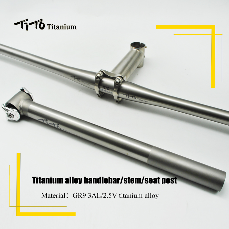 все цены на TiTo Lightweight titanium MTB/Road bicycle parts Titanium alloy Bike Handlebar with Bike Seatpost/seat tube titanium stem Sets