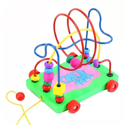 Young happy elephant wooden Trailer maze beads around children's educational toys wholesale Beaded cable force development