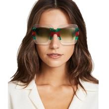 YOOSKE Oversized Square Sunglasses Women Brand Designer Clear Lenses Sun Glasses Female Three Colors Big Frame Party Eye Glasses