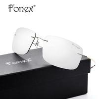 FONEX No Screw Titanium Polarized Rimless Sunglasses Women Brand Designer Ultralight Coat Square Sun Glasses For