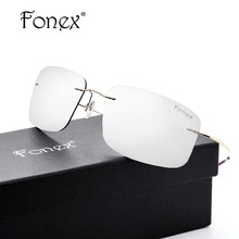 FONEX No Screw Titanium Polarized Rimless Sunglasses Women Brand Designer Ultralight Coat Square Sun Glasses for Men Silver Lens