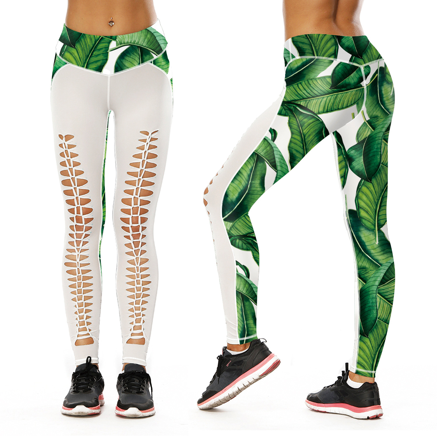 Green Leaves Printed 3D Leggings Summer Sportswear Workout Fitness Jeggings Patchwork Sexy Hollow Out Leggins
