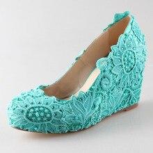 Handmade aqua blue turquoise lace rhinestone pearl wedge shoes elegant bridal wedding party prom shoes big size green blue