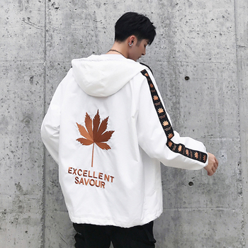 Maple Leaf Embroidery Jackets Men Hip Hop Hooded Jacket Coat 2019 Fashion Spring Mens Streetwear Embroidered Jackets Male ZC60