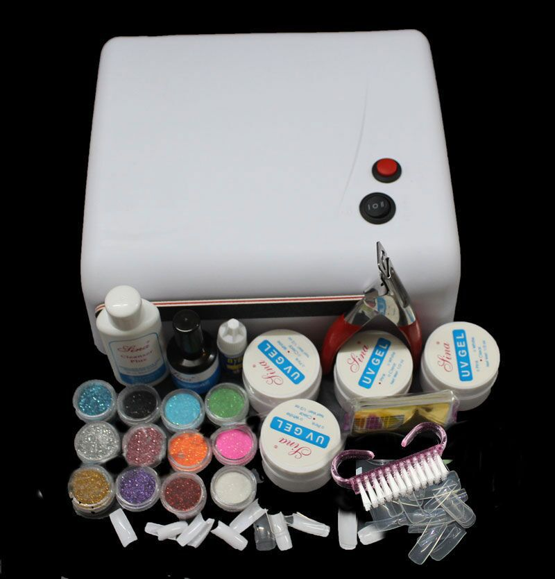 Gel nail set with 36W White UV Lamp Gel Polish Curing Dryer Light Acrylic UV Nail Art Kit Set MS122 ft 122 free shipping 36w white uv lamp gel polish curing dryer light acrylic uv nail art kit set