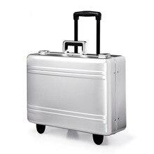 17 дюймов алюминиево-магниевый сплав чемодан на колёсиках полностью металлический чемодан для путешествий роскошный бренд бизнес сумки на колесиках золотой